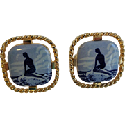 Vintage 1960s Mermaid Cuff Links Porcelain Mens Jewelry
