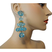 Huge Blue Lucite Statement Earrings Vintage 1980s Pierced Teal Chandelier