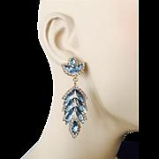 Vintage 1960s Pierced Statement Earrings Blue Navette Chaton Drop Dangle