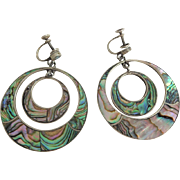 Huge Vintage Sterling Abalone Statement Earrings Screwback Hecho En Mexico Drop Dangle