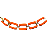 Mod Orange Thermoset Plastic Chunky Link Bracelet Vintage 1960s Gold Plated Twiggy