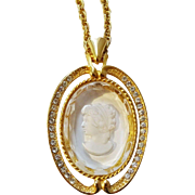 HMS Madeira Creations Cameo Necklace Vintage 1960s Reverse Carved Glass Intaglio Rhinestone Chain Pendant