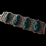 Large Vintage 1960s Green Chunky Plastic Link Metal Bracelet