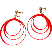 Mod Earrings Vintage 1960s Orange Spiral Plastic Drop Dangle Screwback