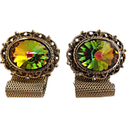 Dante Watermelon Rivoli Cuff Links Cufflinks Vintage 1960s Signed Mens Jewelry