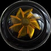 Bakelite Pinwheel Brooch Vintage 1940s Black Applejuice Prystal Pin