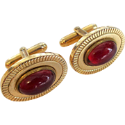 Vintage 1960s Mod Mens Cuff Links Gold Plated Ruby Red Cabochon Pair Comes With Matching Necktie