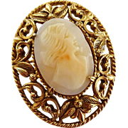 Signed Florenza Cameo Brooch Vintage 1960s Victorian Revival Genuine Carved Shell