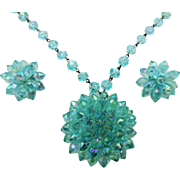Demi Parure Jewelry Set Vintage 1960s Aquamarine Beaded Necklace Pendant Earrings