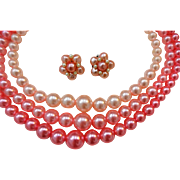Demi Parure Jewelry Set Vintage 1950s Pink Bubblegum Beads 3 Strand Necklace Clip Earrings Hong Kong
