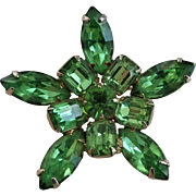 Green Rhinestone Star Brooch Vintage 1950s Costume Jewelry Pin