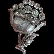 Vintage 1950s Brooch Rhinestone Flower Pin