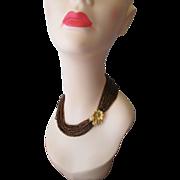 Copper Torsade Necklace Vintage 1960s Flower Rhinestone Clasp 36 Strand