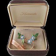 Krementz Jewelry Set Vintage 1960s Brooch Earrings Cultured Pearls 14K Gold Overlay