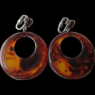 Huge Lucite Clip Earrings Vintage 1960s Twiggy Mod Faux Tortoiseshell