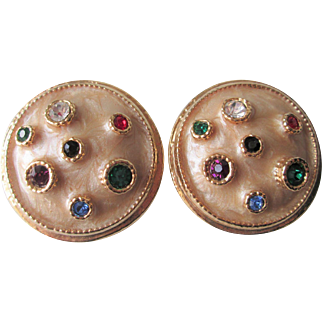 Clip Earrings Vintage 1980s Round Multi Color Rhinestone Gold Plated