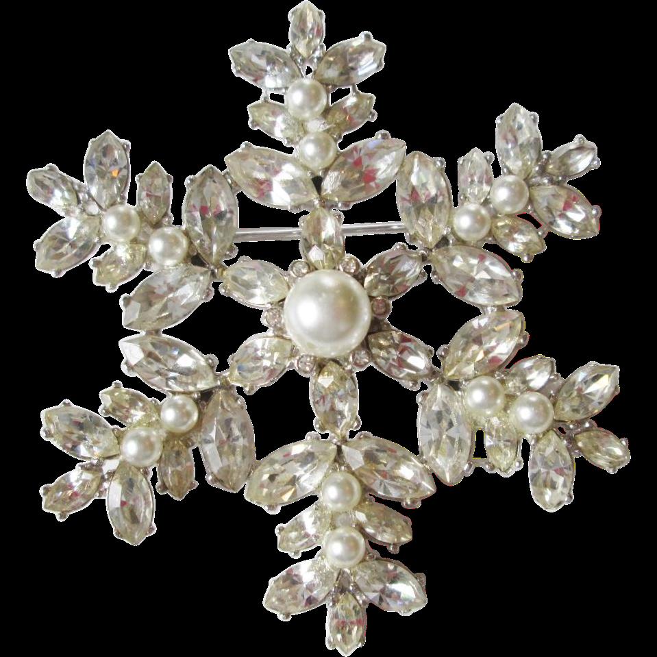Holiday Snowflake Brooch Vintage 1960s Rhinestone Faux