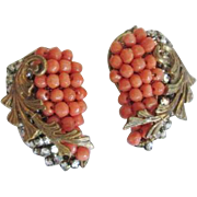Signed Miriam Haskell Earrings Vintage 1950s Coral Rhinestone Hand Wired