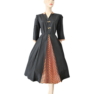 Taffeta Swing Dress Vintage 1950s Black Yellow Red Stripes Knife Pleats Full Skirt