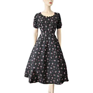 Black Floral Swing Dress Vintage 1950s Taffeta Hot Pink Bows Daisies Large