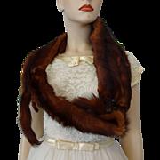 Vintage 1940s Four Pelt Mink Fur Stole