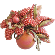 Rare Miriam Haskell Brooch Vintage 1950s Coral Art Glass Hand Wired Large