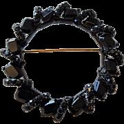 MJ ENT Designer Brooch Vintage 1980s Black Jet Glass Wreath Pin