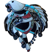 Zuni Eagle Dancer Brooch Vintage 1960s Turquoise Onyx Mother Of Pearl Abalone Large Pin