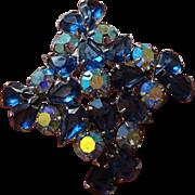 Blue Rhinestone Brooch Vintage 1950s Aurora Borealis Pin