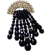 Stunning Vintage 1950s Brooch Black Jet Glass Beaded Rhinestones Dangle Fringe Large Size