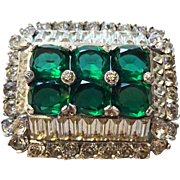 Vintage 1950s Emerald Clear Rhinestone Brooch 3D Sparkling Stones