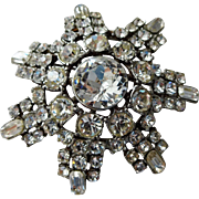 Art Deco Rhinestone Snowflake Brooch Vintage 1930s Pot Metal Foil Back Holiday Jewely Pin