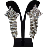 Art Deco Pierced Rhinestone Statement Earrings Vintage 1940s Fringe