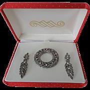 Rhinestone Jewelry Set Vintage 1980s Avante Wreath Dangle Pierced Earrings New In Box