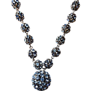 Vintage 1950s Blue Rhinestone Ball Beaded Necklace