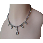 Rhinestone Choker Necklace Vintage 1950s Art Deco Style Silver Plated