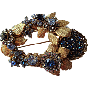 Miriam Haskell Brooch Vintage 1950s Gold Gilt Flowers Leaves Roses Sapphire Aquamarine Rhinestones Large Size
