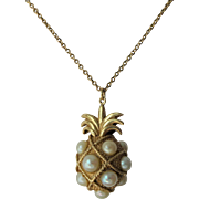 10K Yellow Gold Pearl Pineapple Pendant Chain Necklace Hospitality Welcome Hawaii
