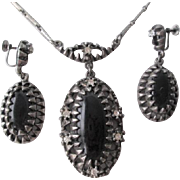 Pendant Chain Necklace Earrings Set Vintage 1940s Black Jet Glass Rhinestone Screwback Demi Parure Set