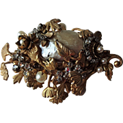 Miriam Haskell Brooch Baroque Faux Pearl Vintage 1950s Ornate Floral Rhinestone Signed Costume Jewelry