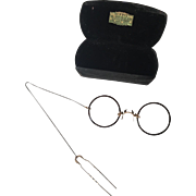 Antique Pince Nez Eyeglasses GF Hair Comb Womens Advertising Case