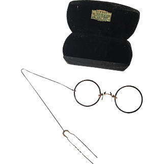 Antique Pince Nez Eyeglasses GF Hair Comb Womens Advertising Case