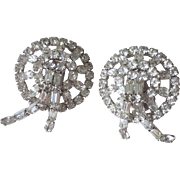 Kramer of New York Rhinestone Earrings Vintage 1940s Art Deco Clip
