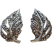 Art Deco German Sterling Marcasite Earrings Vintage 1940s Clip Leaf Signed Jewelry Pair