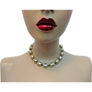 Miriam Haskell Baroque Necklace Choker Vintage 1950s Faux Pearl Beads