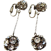 Vintage 1940s Earrings Rhinestone Disco Ball Drop Dangle
