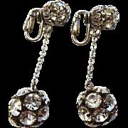 Vintage 1940s Earrings Rhinestone Disco Ball Drop Dangle