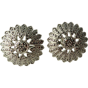 Sterling Silver SS Flower Marcasite Earrings Screw Back Daisy Sunflower