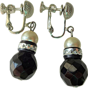 Dauplaise Earrings Vintage 1980s Black Faceted Glass Simulated Pearl Drop Dangle Clip Screw Back