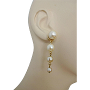 Simulated Faux Pearl Pierced Earrings Vintage 1980s Drop Dangle